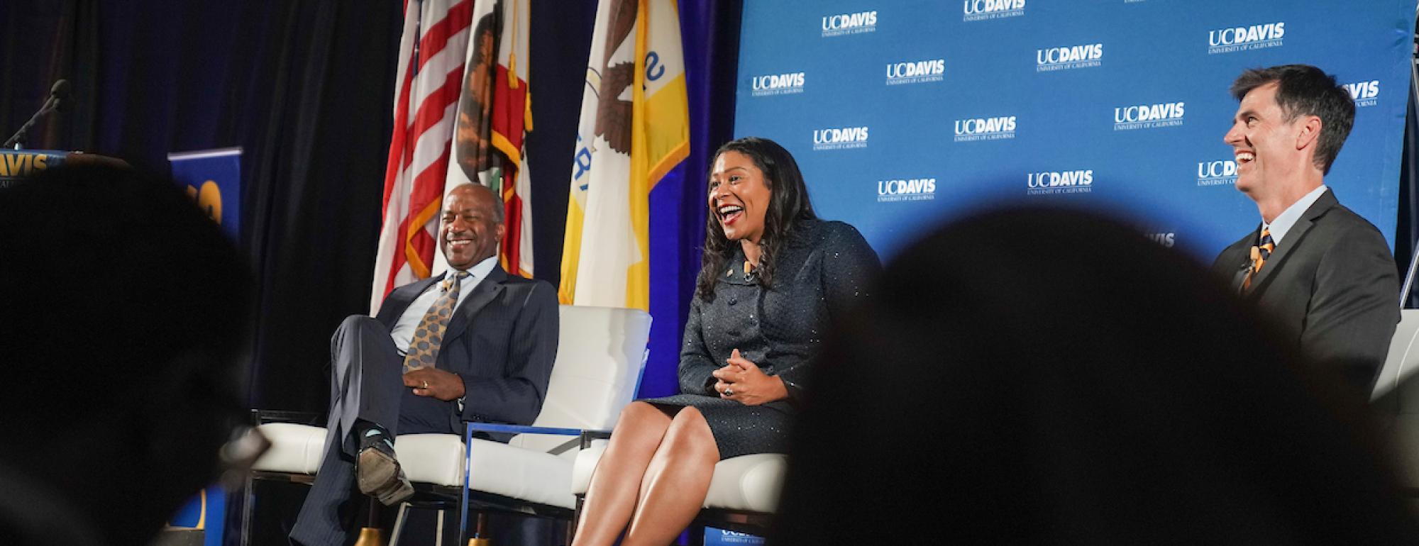 Image Chancellor Gary May and alumna San Francisco Mayor London Breed were interviewed by alumnus Dan Brown