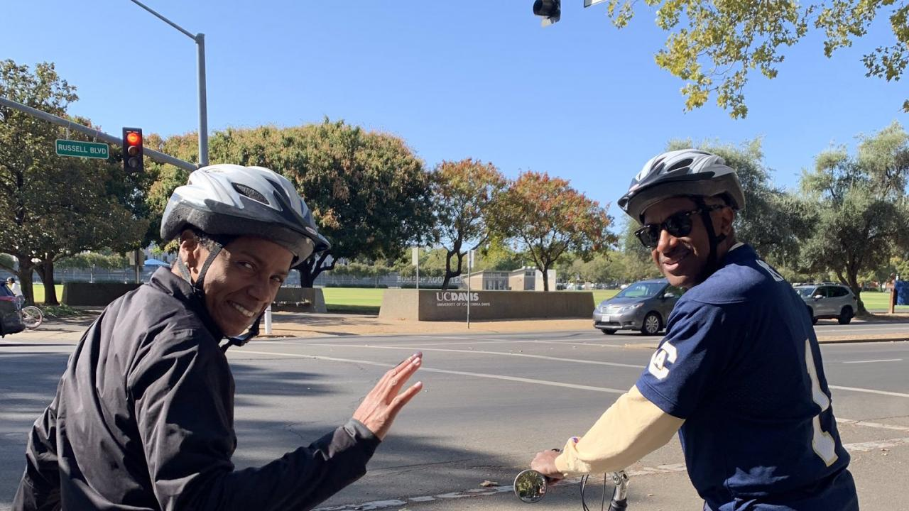 Chancellor May and LeShelle May on community bike ride 2019 image